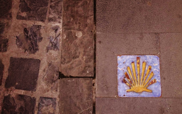 In Jaca, Aragón: A shell marking the camino.