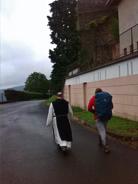 Getting led by a monk at the Zenarruza Monastery
