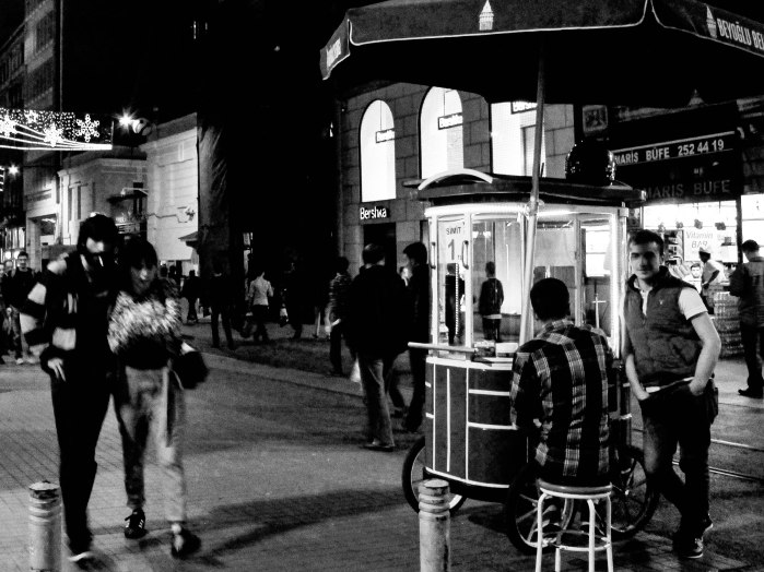 couple walking Istiklal street (1 of 1)