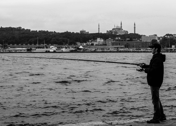 Fisherman and mosque  (1 of 1)